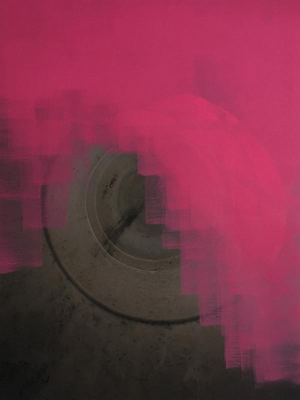 acrylic paint on photographic print